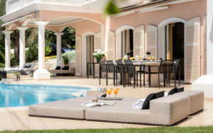 ultimate outdoor design and luxury around the pool of Villa Monaco